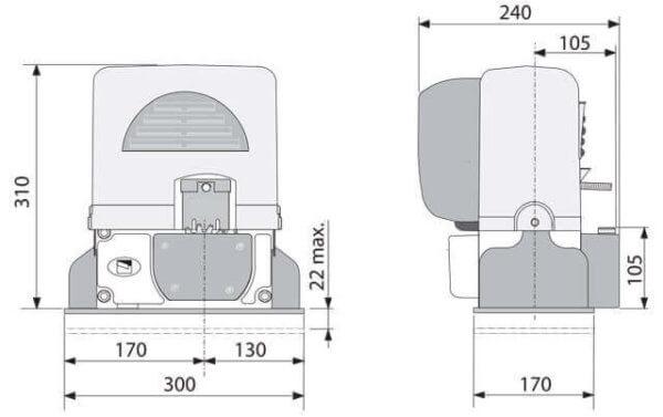 размеры габариты Came BX-64