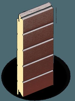 Откатные ворота из сэндвич-панелей коричневого цвета